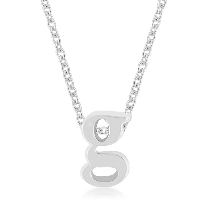 Rhodium Plated Finish Initial G Pendant