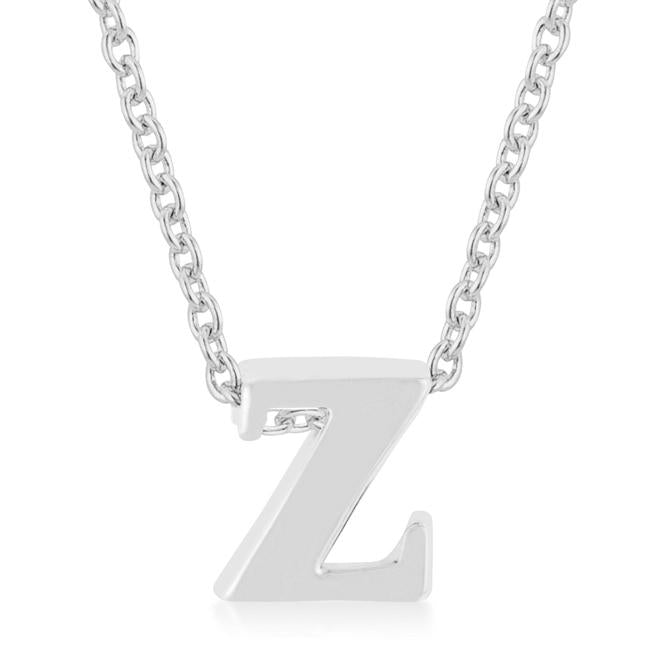 Rhodium Plated Finish Initial Z Pendant