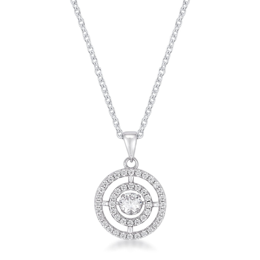 .9Ct Timeless Rhodium Plated Double Pave Circle Dancing CZ Pendant