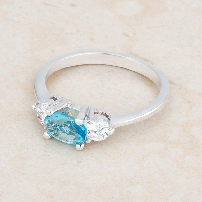 Miranna 1.2ct Blue Topaz CZ Rhodium Classic Oval Ring