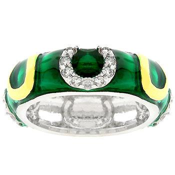 Green Enamel Horseshoe Ring