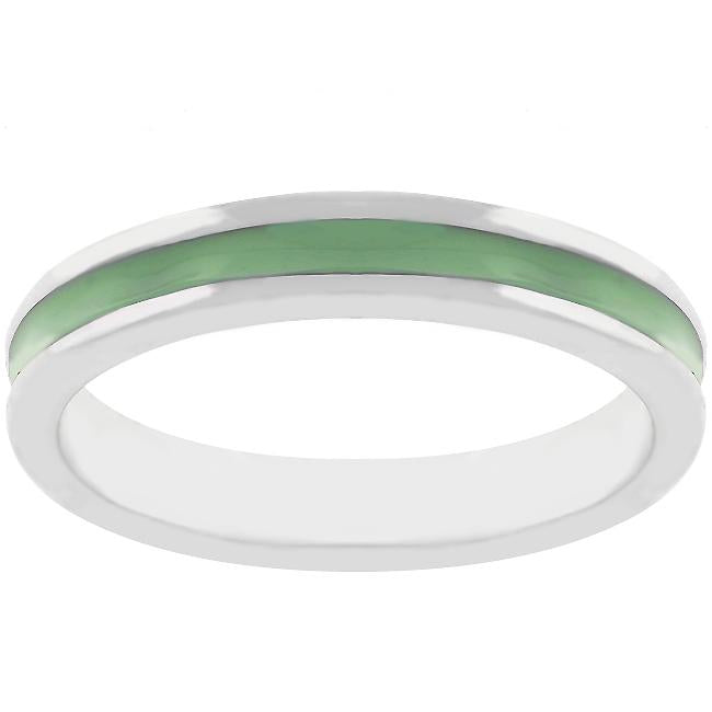 Olive Green Enamel Eternity Ring