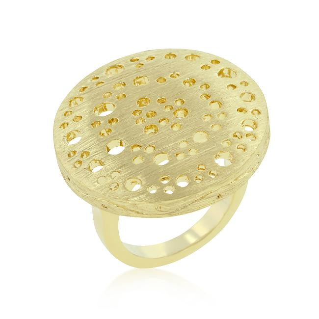Textured Golden Saucer Ring