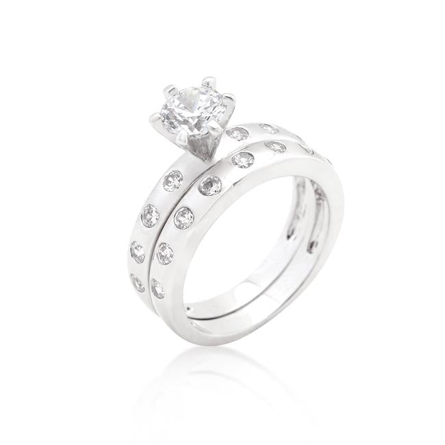Bezel Set Round Cut Bridal Ring Set