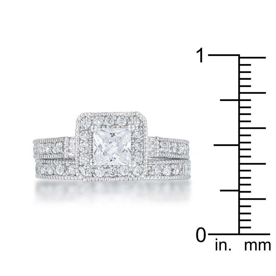 Art Deco Princess Cut Bridal Set