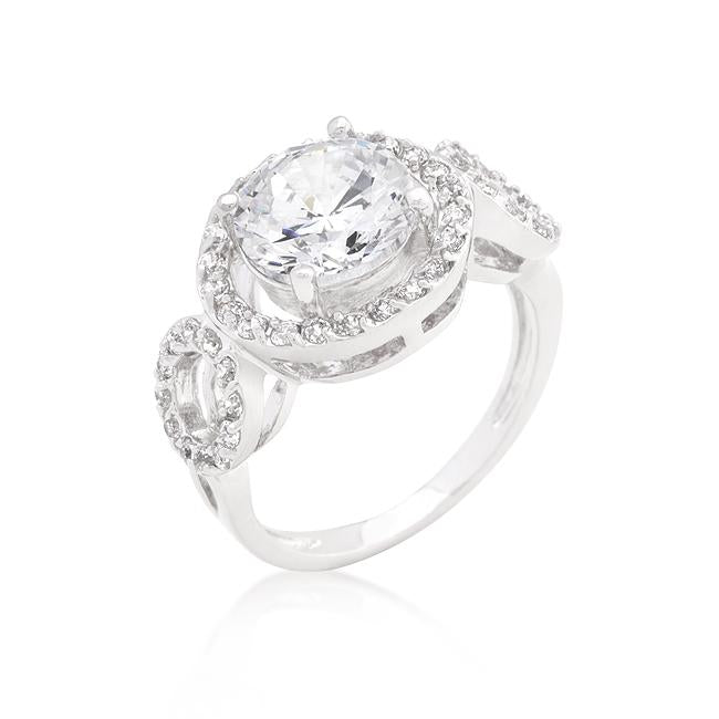 Round Cut Trio Cubic Zirconia Ring