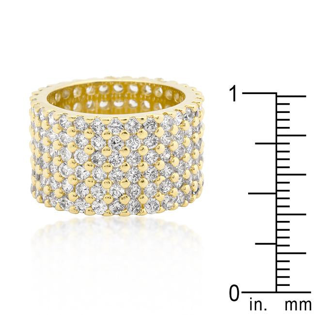 Goldtone Finishd Wide Pave Cubic Zirconia Ring