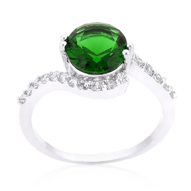 Green Swirling Engagement Ring