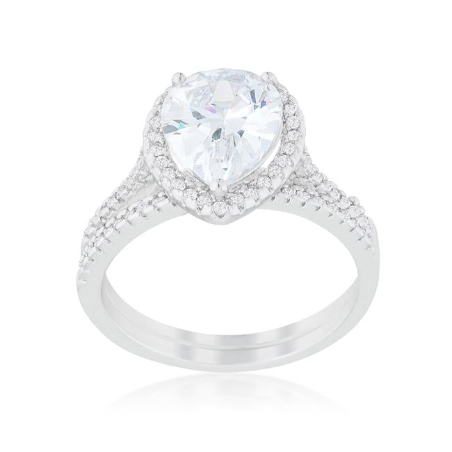Halo Solitaire Pear Engagement Ring