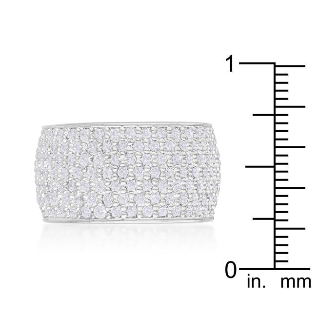 Wide Pave Cubic Zirconia Silvertone Band Ring
