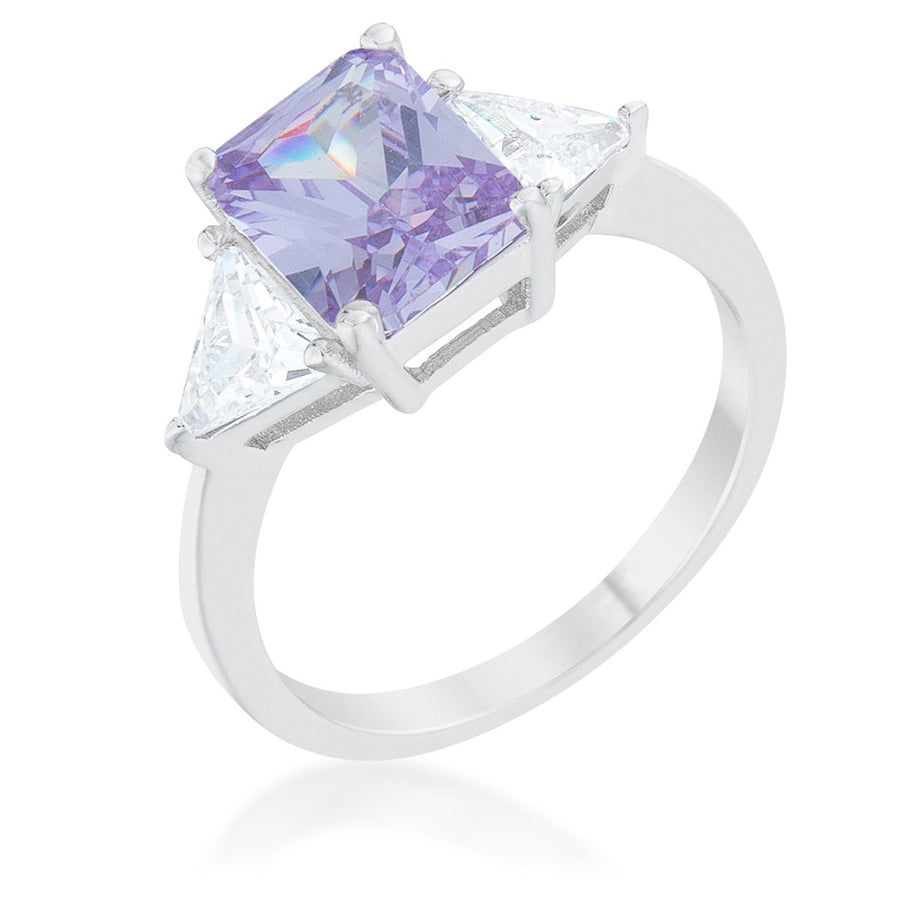 Classic Lavender White Gold Rhodium Engagement Ring