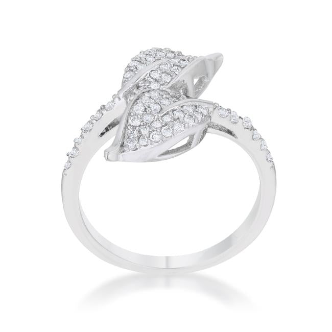 Liana 0.1ct CZ Rhodium Leaf Wrap Ring