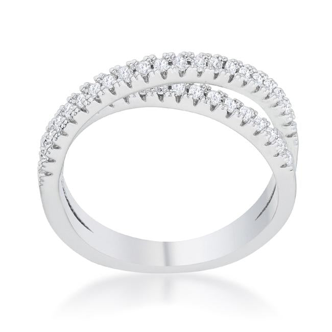 Mara 0.4ct CZ Rhodium Intertwined Simple Ring