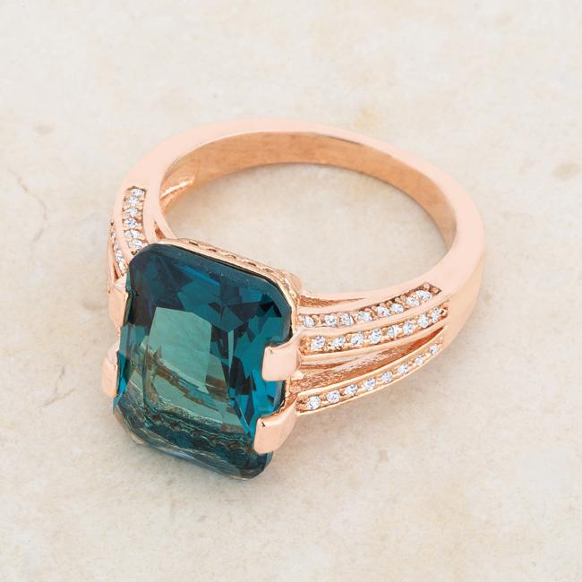 Rema 8.6ct Aqua CZ Rose Gold Emerald Classic Cocktail Ring
