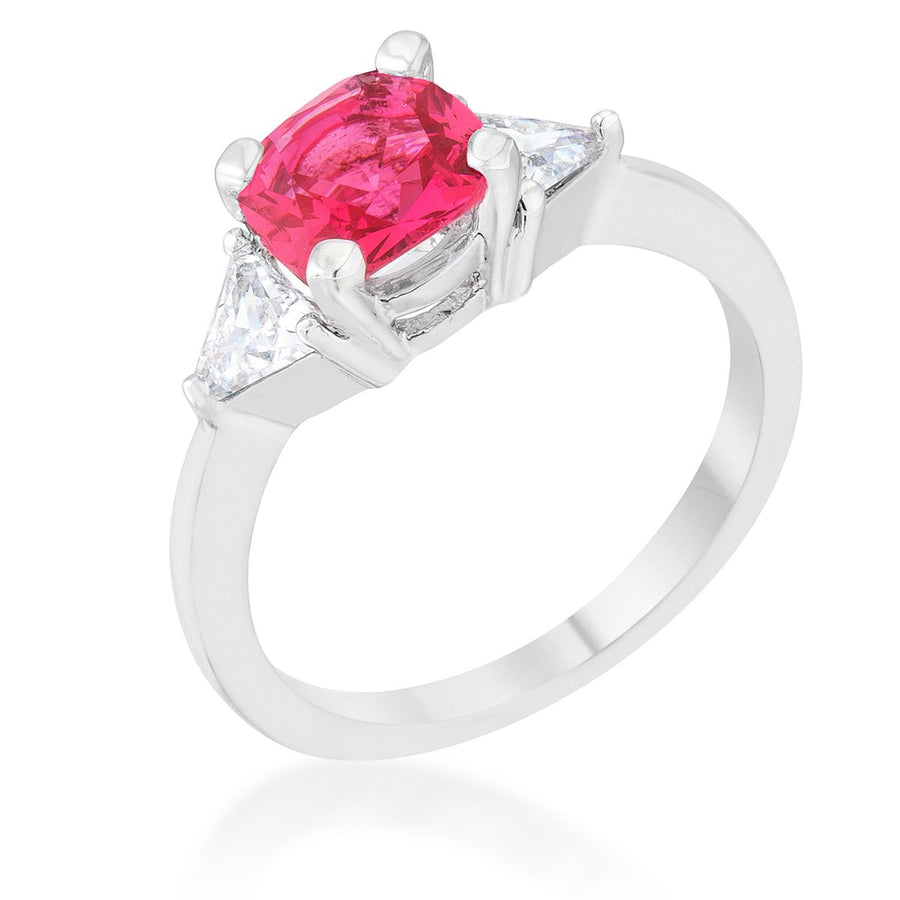 Shonda 1.8ct Fuchsia CZ Rhodium Cushion Classic Statement Ring