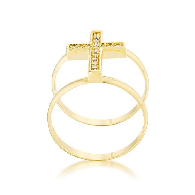 Francis 0.08ct CZ 14k Gold Contemporary Cross Ring