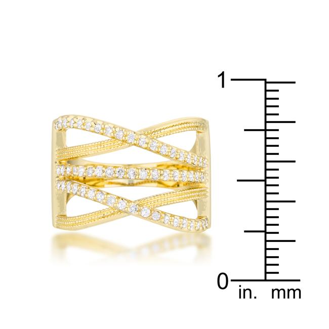 Greta 0.57ct CZ 14k Gold Wide Cocktail Cable Ring