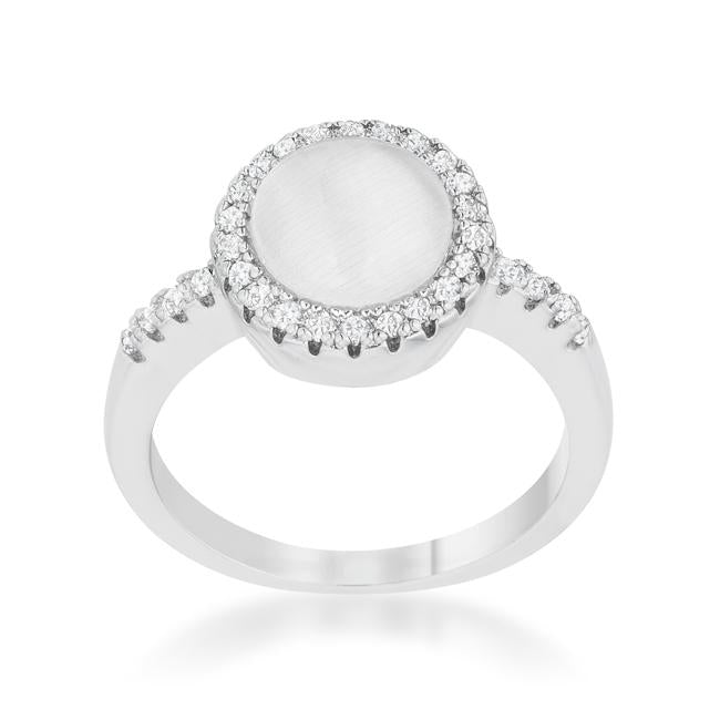 Patricia 0.3ct CZ White Cats Eye Rhodium Classic Ring