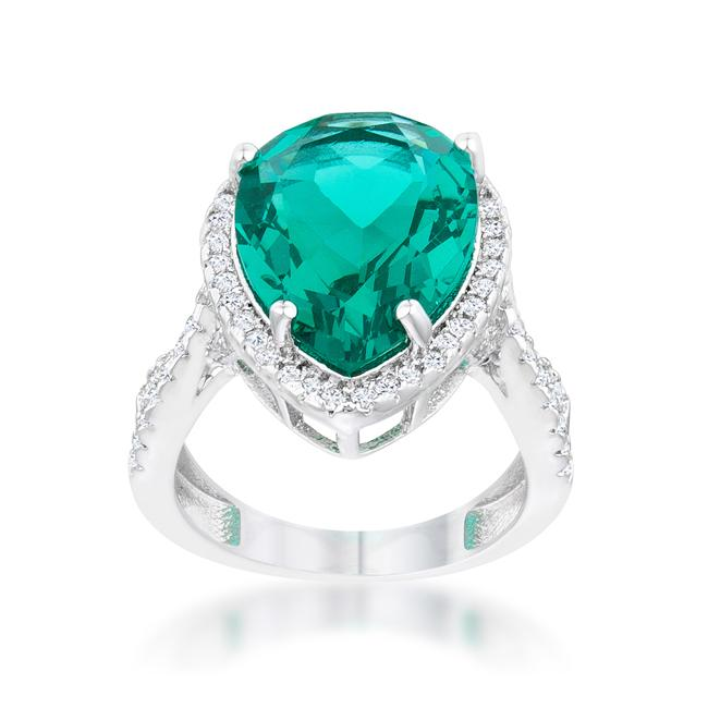 Laura 9.9ct Blue Green CZ Rhodium Classic Teardrop Ring