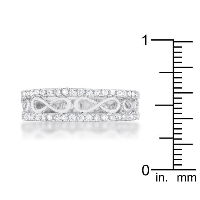 Rema 0.4ct CZ Rhodium Contemporary Infinity Band Ring