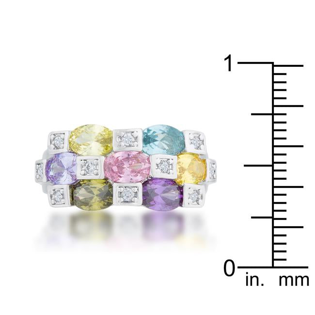 Mina 3.1ct Multicolor CZ Rhodium Cocktail Ring
