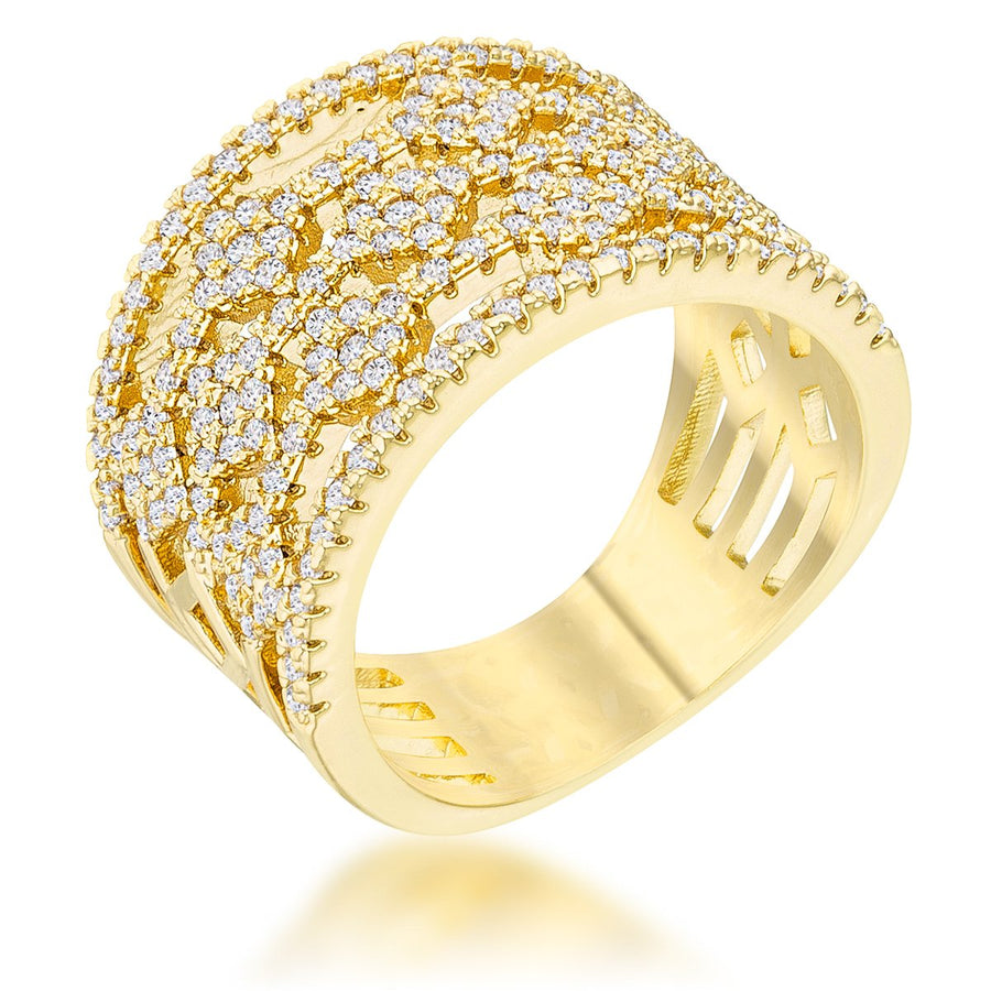 Marlene 0.6ct CZ 14k Gold Wide Band Cocktail Ring