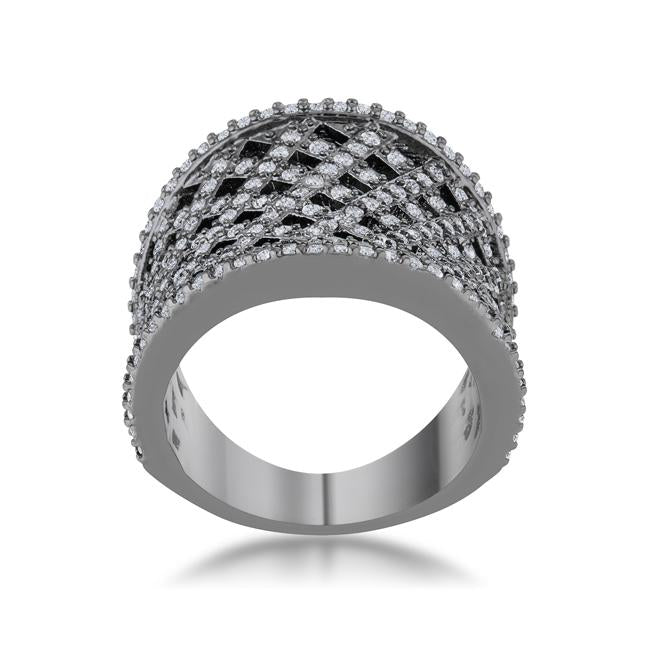 Brin 1.4ct CZ Hematite Wide Woven Style Ring