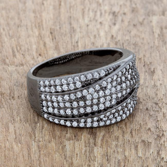 Kina 1.7ct Clear CZ Hematite Contemporary Cocktail Ring