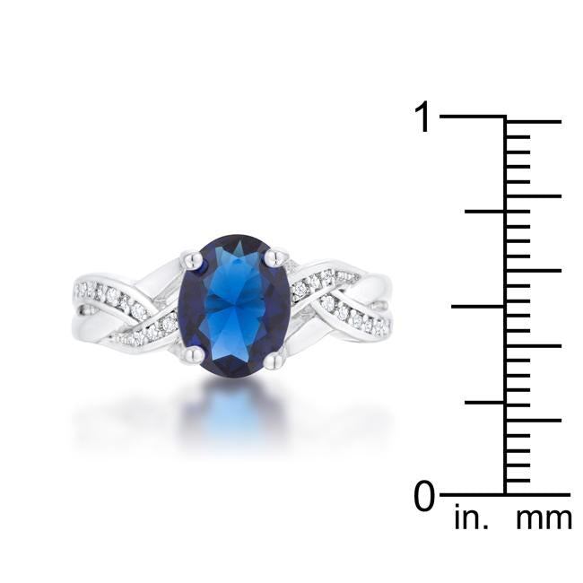 Justine 2ct Sapphire CZ Rhodium Classic Oval Ring