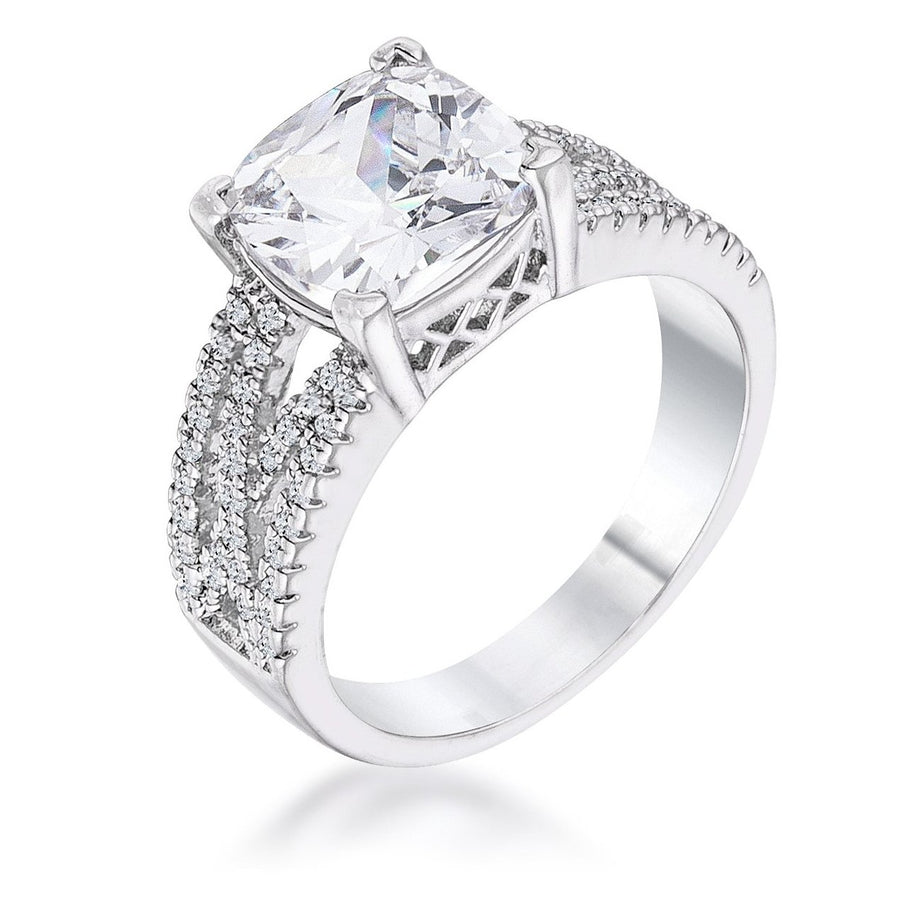 3Ct Elegant Rhodium Plated Criss-Cross Clear CZ Engagement Ring