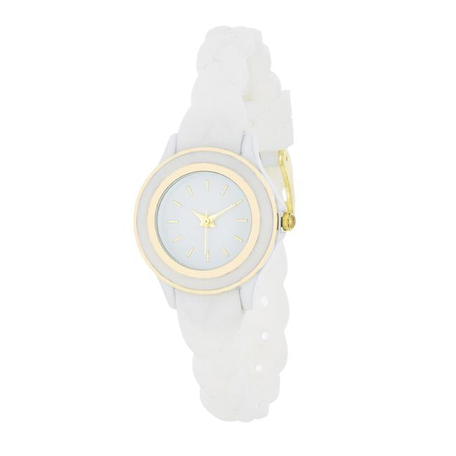 Carmen Braided Ladylike Watch With White Rubber Strap
