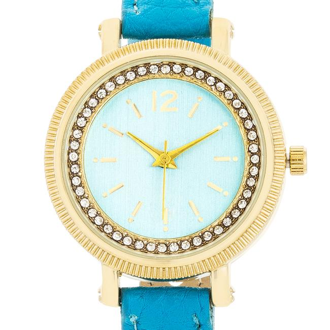 Georgia Gold Crystal Watch With Turquoise Leather Strap