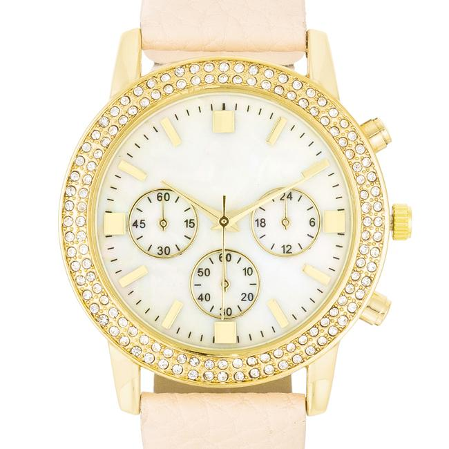 Shell Pearl Dial Watch With Crystals