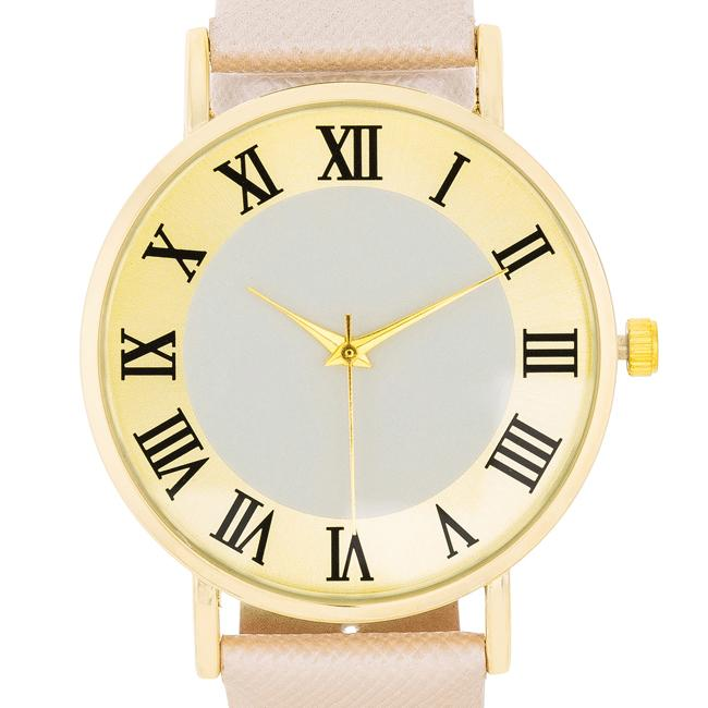 Gold Classic Watch With Champagne Leather Strap