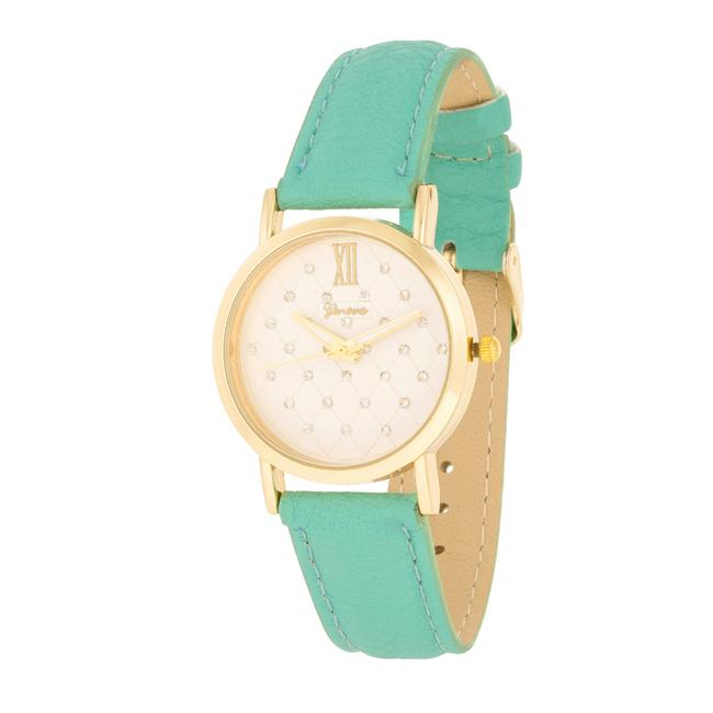 Gold Mint Leather Watch