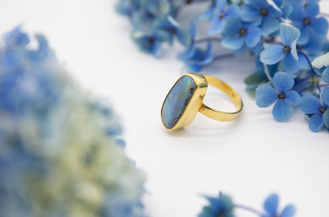 Genuine Australian Lightning Ridge Opal Ring set in Beaten Gold Plated Sterling Silver Band - Size 8 US - Gemstone Jewellery - Opal Jewelry
