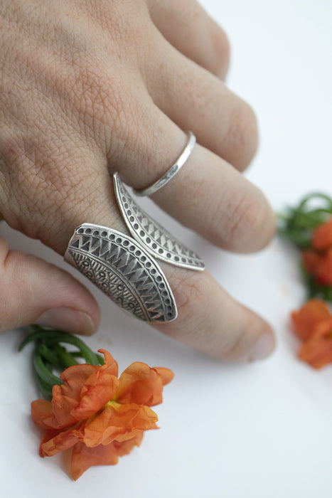 Thai Hill Tribe Silver Ring - Tribal Silver Ring - Size 8 US - Everyday Ring - Pure Silver Jewellery - Printed Ring