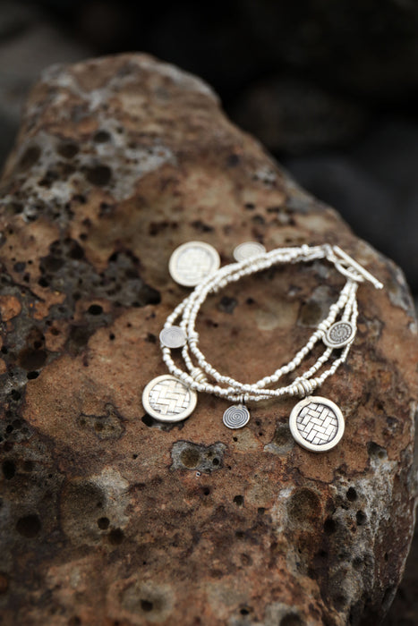Handmade Beaded Thai Hill Tribe Silver Bracelet with Three Strands + Woven and Spiral Charms