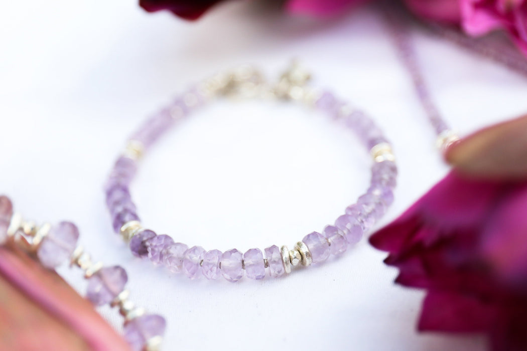 Handmade Beaded Faceted Amethyst Bracelet with Thai Hill Tribe Silver Beads and Clasp with Flower Charm - Jewellery - Gemstone Jewelry