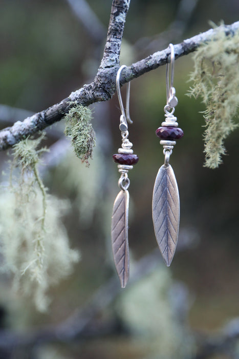 Handmade Genuine Ruby Earrings with Thai Hill Tribe Silver Beads and Leaves - Raw Gemstone Jewellery