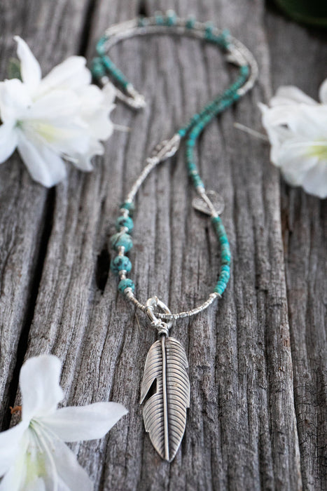 Gorgeous Long Natural Turquoise Necklace with Thai Hill Tribe Silver Beads and Feather Pendant - Handmade Jewelry - Genuine Gemstone