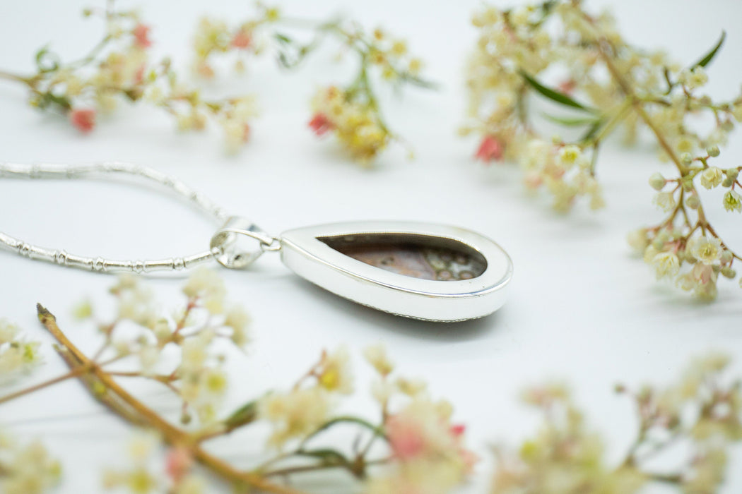 Stunning Large Faceted Ocean Jasper Teardrop Pendant in Unique Sterling Silver Bezel Setting - Gemstone Pendant - Jasper