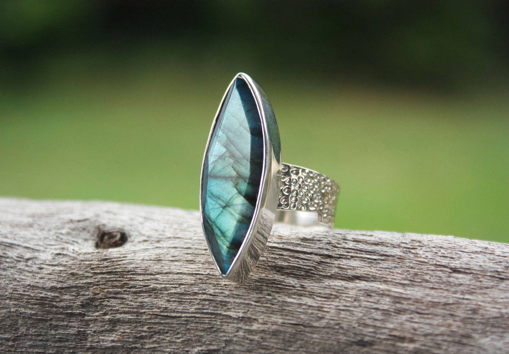 Unique Faceted Labradorite Ring with Beaten Sterling Silver + Stylish Adjustable Style Band - Adjustable Ring - Gemstone Jewelry