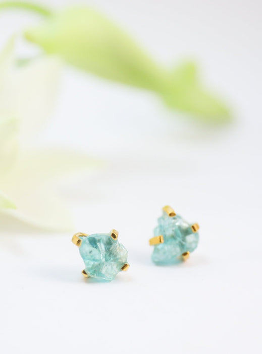 Lovely Raw Apatite Stud Earrings set in Gold Plated 92.5% Sterling Silver - Raw Gemstone Jewelry - Rough Gem Earrings - Apatite Jewellery