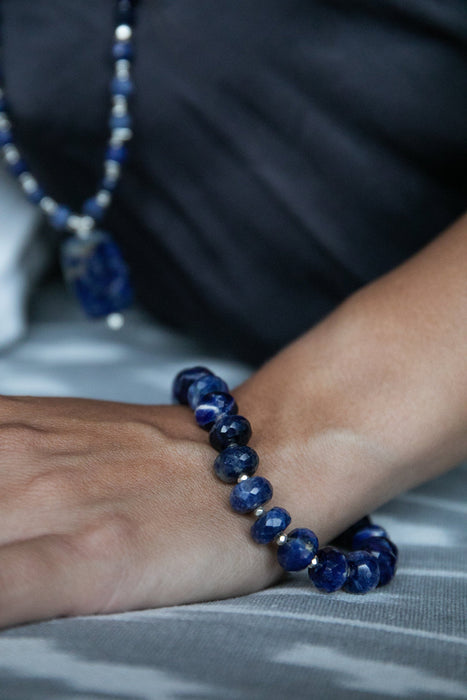 Gorgeous Handmade Faceted Sodalite Bracelet with Thai Hill Tribe Silver - Beaded Gemstone Jewellery - Handmade Sodalite Jewelry