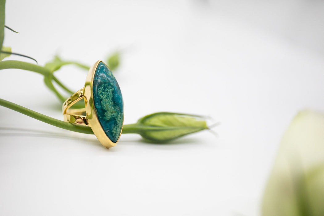 Gorgeous Unique Chrysocholla Ring set in Beaten Gold Plated Sterling Silver with Split Hammered Band - Size 5 US - Gold Gemstone Jewellery