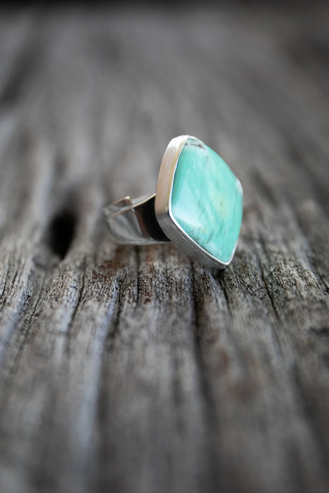 One of a Kind Statement Variscite Ring set in Brushed Sterling Silver Adjustable Band - Gemstone Jewelry - Variscite Jewel
