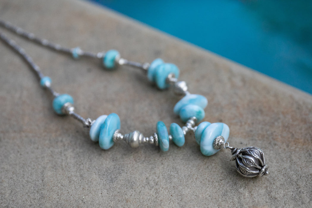 Statement Larimar Necklace with Tribal Thai Hill Tribe Silver Pendant and Beads - Handmade Gemstone Jewelry - Beaded Larimar Jewellery