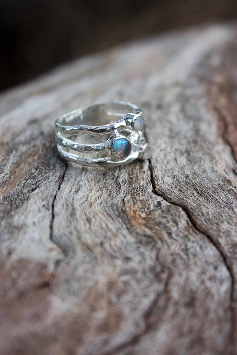 3 Band Labradorite and Rainbow Moonstone Ring set in Sterling Silver - Multiple Sizes - Multi Banded Ring - Multi Gemstone Ring
