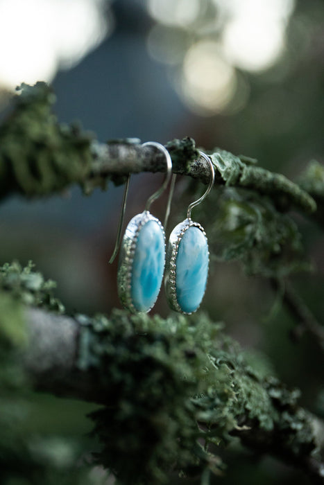 Sweet Larimar Earrings set in Unique 92.5% Sterling Silver - Larimar Jewelry - Dolphin Stone - Gemstone Earrings